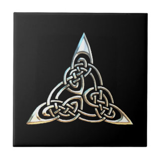 Silver Black Triangle Spirals Celtic Knot Design Tile