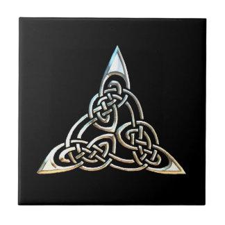 Silver Black Triangle Spirals Celtic Knot Design Tile