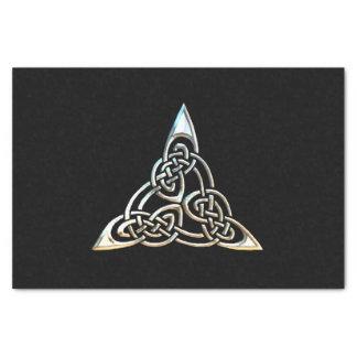 Silver Black Triangle Spirals Celtic Knot Design Tissue Paper