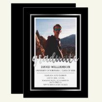 Silver & Black Typography | Photo Graduation Party Invitation