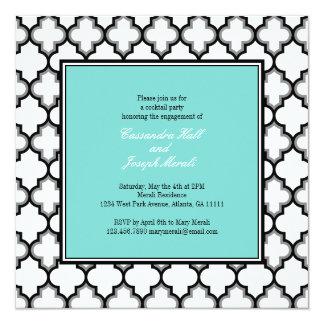 Silver, Black & White Invitation Blue