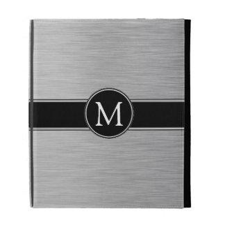 Silver, Black, White Monogram iPad Folio iPad Folio Cover