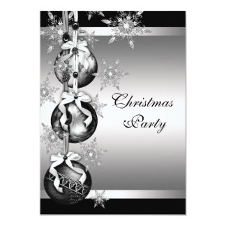 Silver Black White Snowflakes Christmas Party Custom Invitations