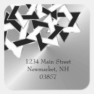 Silver Black White Star of David Return Address Square Sticker