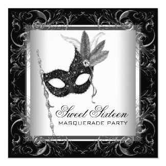 Silver Black White Sweet 16 Masquerade Party Card