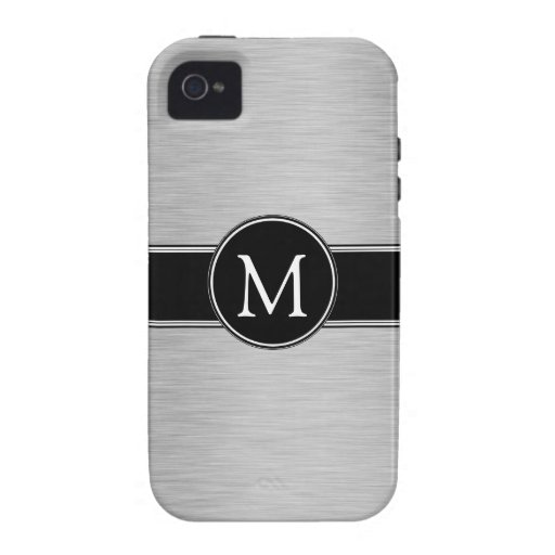 Silver, Black, White with Your Monogram Vibe iPhone 4 Cases