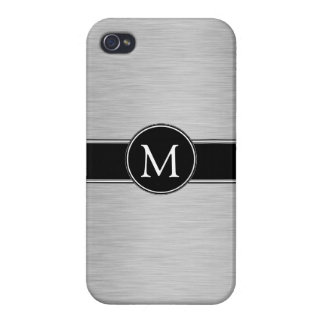 Silver, Black, White with Your Monogram iPhone 4 Cover