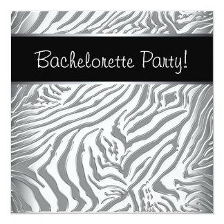 Silver Black Zebra Bahcleorette Party 5.25x5.25 Square Paper Invitation Card