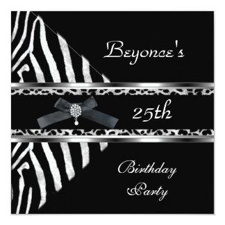 """Silver Black Zebra Leopard Invite 25th Birthday 5.25"""" Square Invitation Card"""