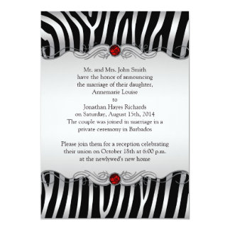 Silver Black Zebra Red Jewel Post Wedding Invitati Card