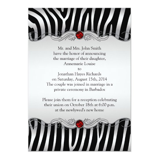 Silver Black Zebra Red Jewel Post Wedding Invitati Invitation