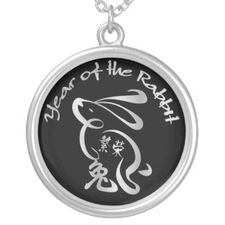 Silver / Blk Year of the Rabbit - Chinese New Year Round Pendant Necklace