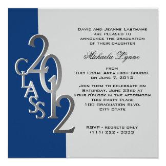 Silver Blue 2012 Photo Graduation Invitation