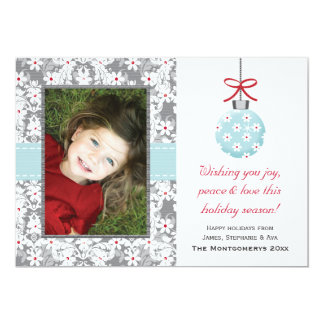 Silver Blue and Red Ornament Holiday Photo Card Announcements