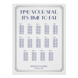 Silver Blue Art Deco Wedding Seating Chart Poster
