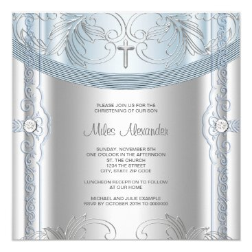 Toddler & Baby themed Silver Blue Baby Boy Christening Card