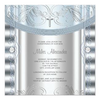 Silver Blue Baby Boy Christening Card