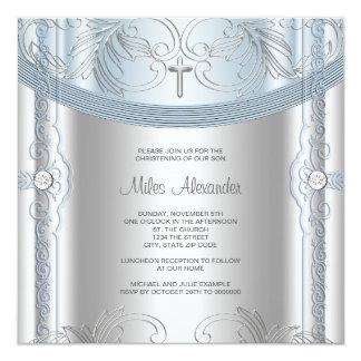 Silver Blue Baby Boy Christening Invite