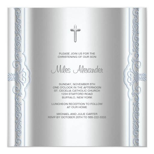 Silver Blue Baby Boy Christening 5.25x5.25 Square Paper Invitation Card