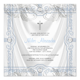 Silver Blue Baby Boy Christening White Satin Card