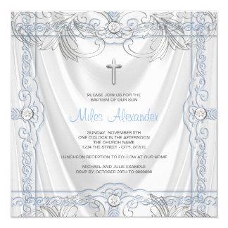 Silver Blue Baby Boy Christening White Satin Card