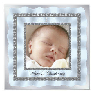 Silver Blue Baby Boy Photo Christening Baptism Card