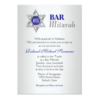 "Silver blue bar mitzvah celebrations 5"" x 7"" invitation card"