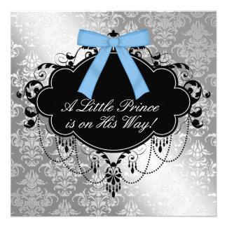 Silver Blue Black Prince Baby Boy Shower Invite
