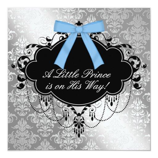 Silver Blue Black Prince Baby Boy Shower Invitation