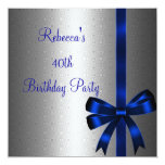 "Silver Blue Bow 40th Elegant Birthday Party 5.25"" Square Invitation Card"