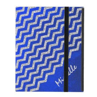 Silver Blue Chevron Personalized iPad Case