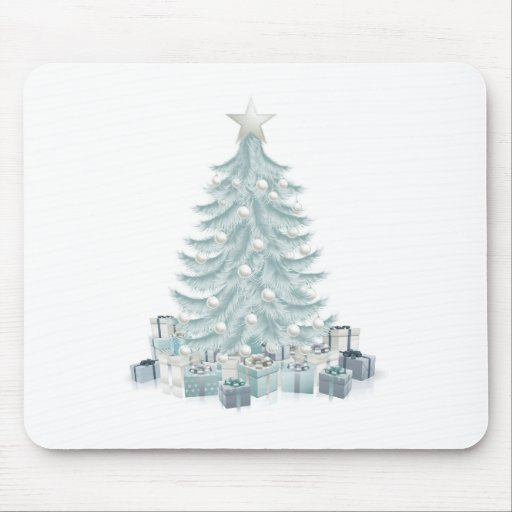 Silver blue Christmas tree and gifts Mouse Pad