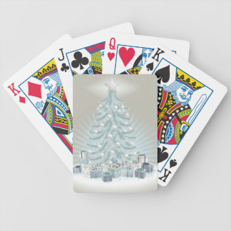 Silver blue Christmas tree balls and gifts Bicycle Poker Deck