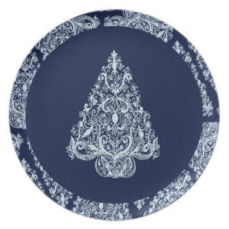 Silver Blue Christmas Tree Melamine Plate