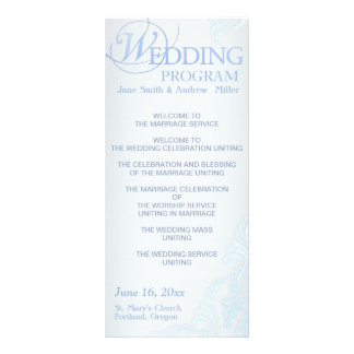 Silver blue Damask Wedding Program Rack Cards
