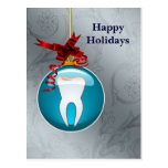 silver blue Dentist Holiday Cards Postcard