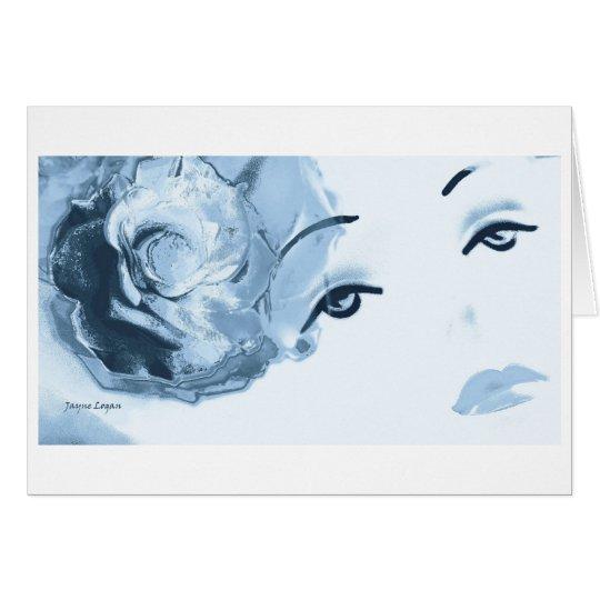 Silver Blue Diamond Girl, Greeting Card
