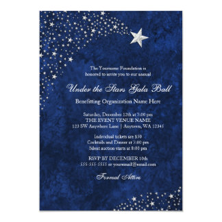 Silver Blue Falling Stars Gala Ball Invitations
