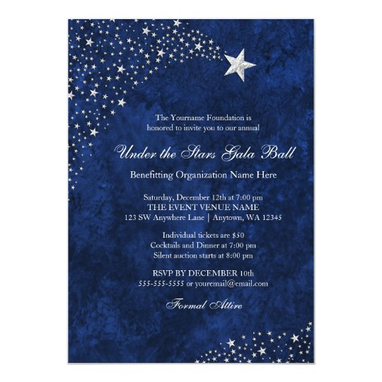Silver Blue Falling Stars Gala Ball Invitations Zazzle Com