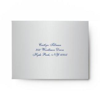 Silver, Blue Floral, Hearts Envelope for RSVP Card