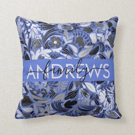 Silver Blue Floral Leaves Illustration Family Throw Pillow