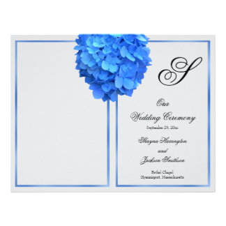 Silver Blue Floral Monogram Wedding Program Cover Letterhead