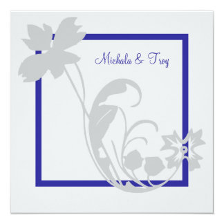 """Silver Blue Flower Wedding Invitation 5.25"""" Square Invitation Card"""