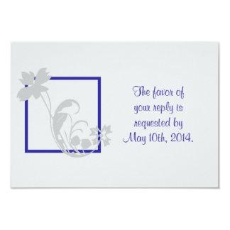 Silver Blue Flower Wedding RSVP Card