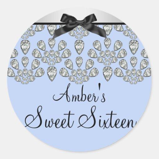 Silver & Blue Forever Diamonds Sweet 16 Sticker