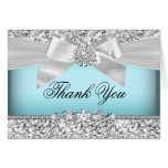 Silver Blue Glitter & Jewel Bow Thank You Card