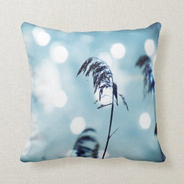 Beach Themed Silver Blue Grass Sparkle Throw Pillows