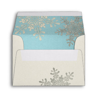 Silver Blue Ivory Snowflake Winter Wedding A2 Envelopes