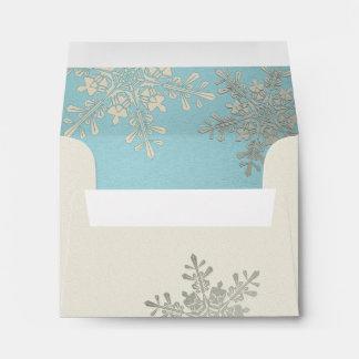 Silver Blue Ivory Snowflake Winter Wedding A2 Envelopes