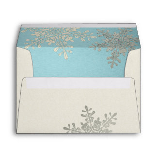 Silver Blue Ivory Snowflake Winter Wedding A7 Envelope